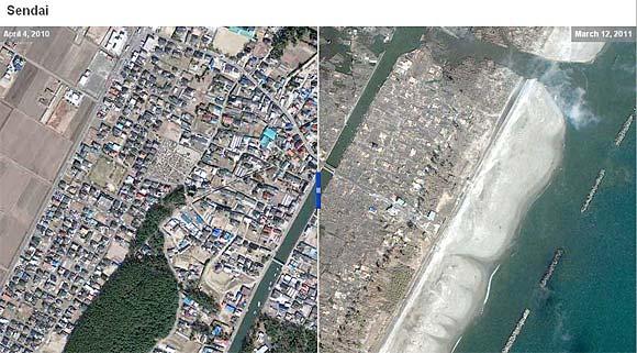 Fotos de satélite do japão antes e depois do terremoto e tsunami