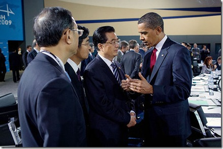 President Barack Obama talks with Chinese President Hu Jintao during the morning plenary session of the G-20 Pittsburgh Summit at the David L. Lawrence Convention Center in Pittsburgh, Penn., Sept. 25, 2009. (Official White House Photo by Pete Souza)