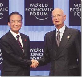 Wen Jiabao e Klaus Schwab em foto de Yang Shizhong do China Daily